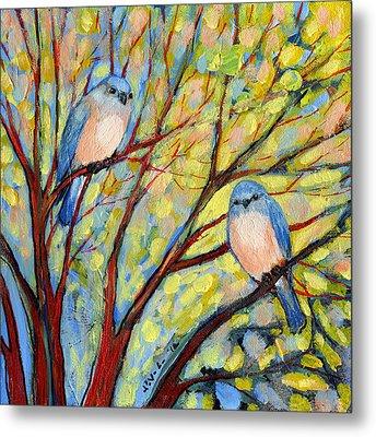 Two Bluebirds Metal Print by Jennifer Lommers