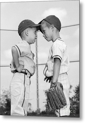 Two Boys Playing Baseball Arguing Metal Print by H. Armstrong Roberts/ClassicStock