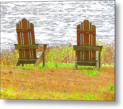 Two Chairs Facing The Lake Metal Print by Lanjee Chee