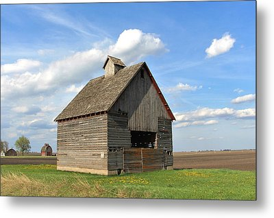 Two For One Corn Cribs Metal Print by Kathy Krause