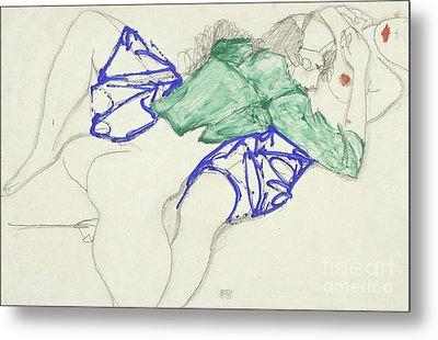 Two Friends, Reclining   Tenderness Metal Print by Egon Schiele