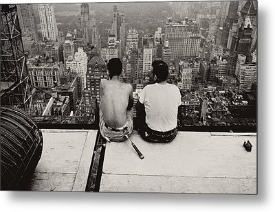 Two Men Sitting On A Scaffold Overlooking Manhattan Metal Print by Nat Herz