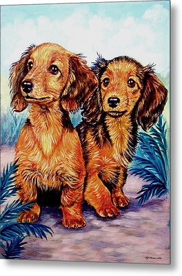 Two Peas In A Pod - Dachshund Metal Print by Lyn Cook
