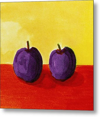 Two Plums Metal Print by Michelle Calkins