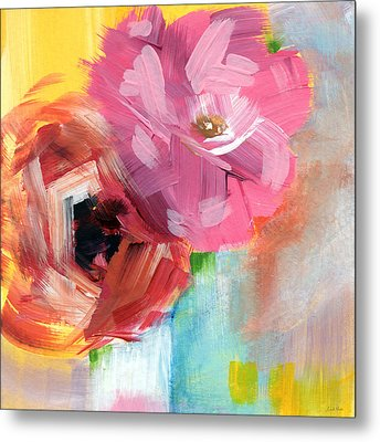 Two Roses- Art By Linda Woods Metal Print by Linda Woods
