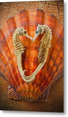 Two Seahorses On Seashell Metal Print by Garry Gay