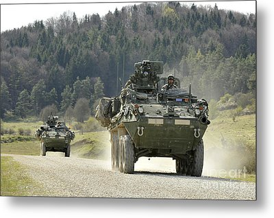 Two Stryker Vehicles At The Hohenfels Metal Print by Stocktrek Images