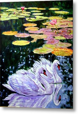 Two Swans In The Lilies Metal Print by John Lautermilch