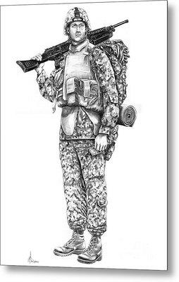 U S Marine Metal Print by Murphy Elliott