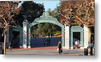 Uc Berkeley . Sproul Plaza . Sather Gate . Wide Size . 7d10020 Metal Print by Wingsdomain Art and Photography