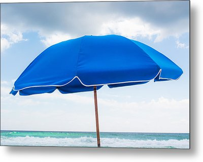 Umbrella On The Beach Metal Print by Shelby  Young