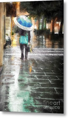 Umbrella Seller Metal Print by HD Connelly
