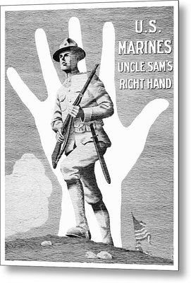 Uncle Sam's Right Hand - Us Marines Metal Print by War Is Hell Store