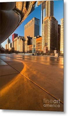 Under The Bean And Chicago Skyline At Sunrise Metal Print by Sven Brogren