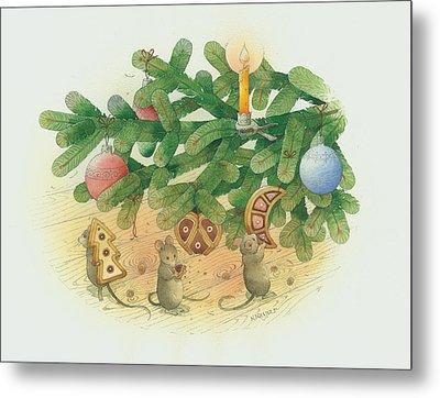 Under The  Christmas Tree Metal Print by Kestutis Kasparavicius