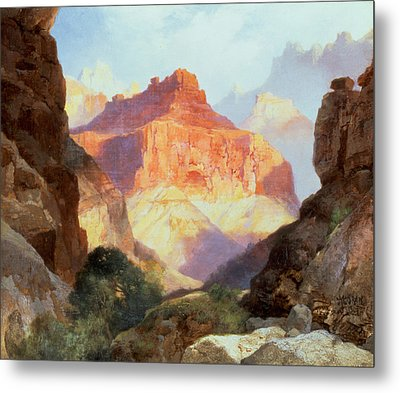 Under The Red Wall Metal Print by Thomas Moran