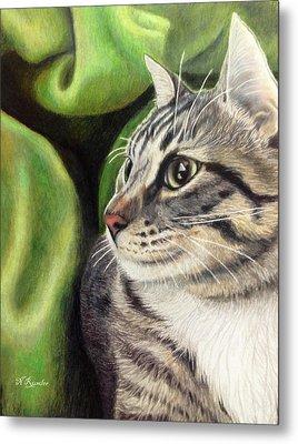 Undercover Cat Metal Print by Nina Rumler