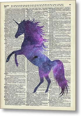 Unicorn In Space Metal Print by Jacob Kuch