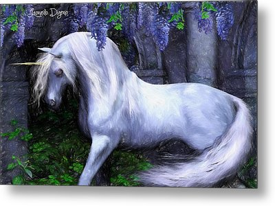 Unicorn  - Pencil Style -  - Da Metal Print by Leonardo Digenio