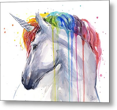 Unicorn Rainbow Watercolor Metal Print by Olga Shvartsur