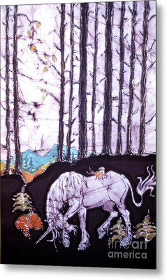 Unicorn Rests In The Forest With Fox And Bird Metal Print by Carol Law Conklin