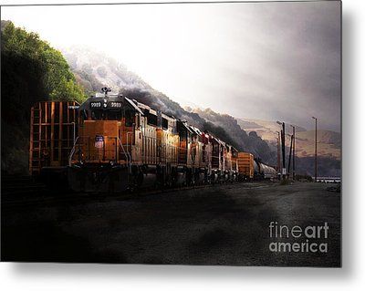 Union Pacific Locomotive At Sunrise . 7d10561 Metal Print by Wingsdomain Art and Photography