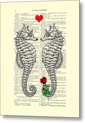Unique Valentines Day Gift Ideas, Seahorses Metal Print by Madame Memento
