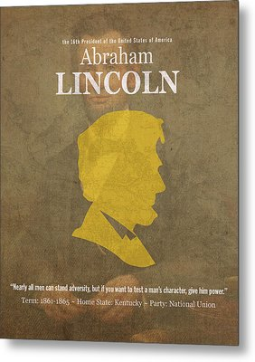 United States Of America President Abraham Lincoln Facts Portrait And Quote Poster Series Number 16 Metal Print by Design Turnpike