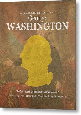 United States Of America President George Washington Facts And Portrait Poster Series Number 1 Metal Print by Design Turnpike