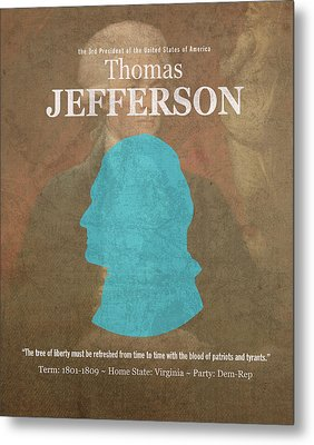 United States Of America President Thomas Jefferson Facts Portrait And Quote Poster Series Number 3 Metal Print by Design Turnpike