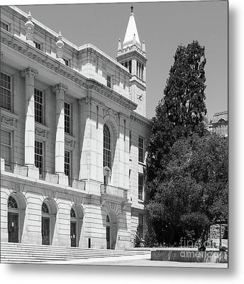 University Of California Berkeley Ide Wheeler Hall South Hall And The Campanile Dsc4066 Sq Bw Metal Print by Wingsdomain Art and Photography