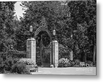 University Of Chicago Hull Court Gate Metal Print by University Icons