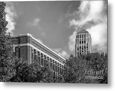 University Of Michigan Natural Sciences Building With Burton Tower Metal Print by University Icons