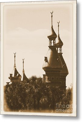 University Of Tampa Minarets With Old Postcard Framing Metal Print by Carol Groenen