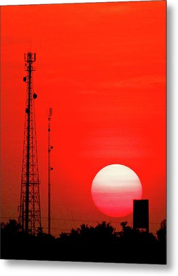 Urban Sunset And Radiostation Tower Silhouettes Metal Print by Rosita So Image