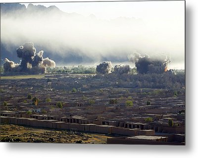 U.s. Bombs Burst During Fighting Metal Print by Everett