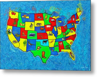 Us Map With Theme  - Van Gogh Style -  - Da Metal Print by Leonardo Digenio