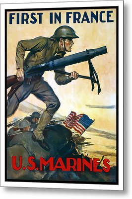 Us Marines - First In France Metal Print by War Is Hell Store