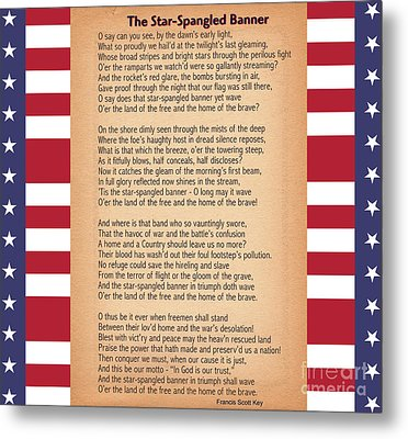 Us National Anthem - The Star-spangled Banner  Metal Print by Celestial Images