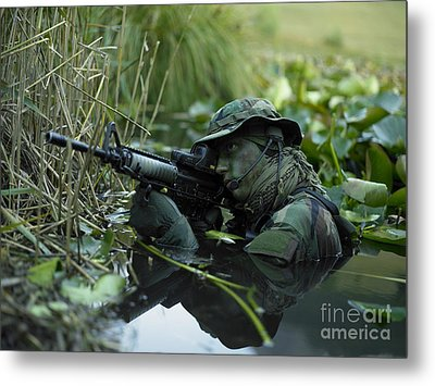 U.s. Navy Seal Crosses Through A Stream Metal Print by Tom Weber