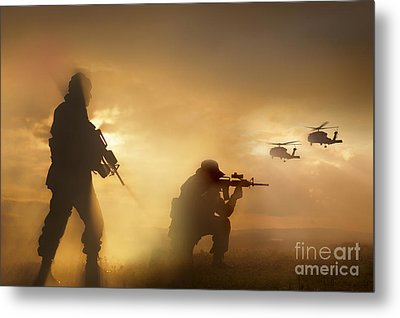 U.s. Special Forces Provide Security Metal Print by Tom Weber