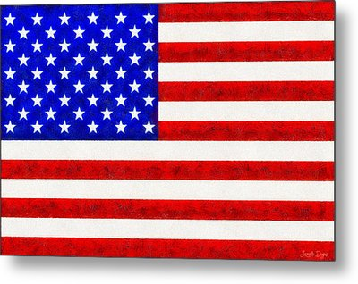 Usa Flag  - Fine Wax Style -  - Pa Metal Print by Leonardo Digenio