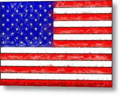 Usa Flag  - Pencil Style -  - Da Metal Print by Leonardo Digenio