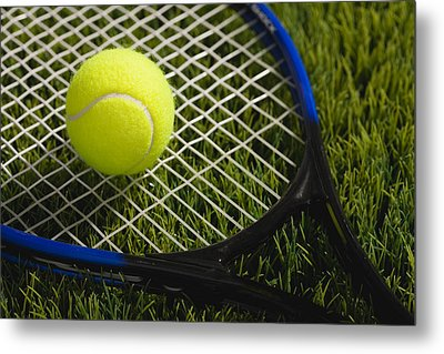 Usa, Illinois, Metamora, Tennis Racket And Ball On Grass Metal Print by Vstock LLC