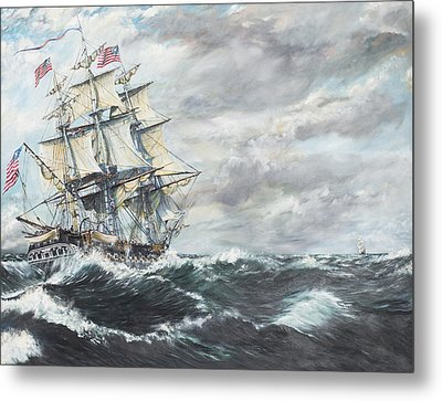 Uss Constitution Heads For Hm Frigate Guerriere Metal Print by Vincent Alexander Booth