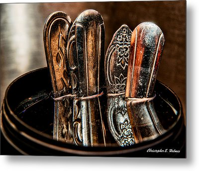 Utensils Reflected Metal Print by Christopher Holmes