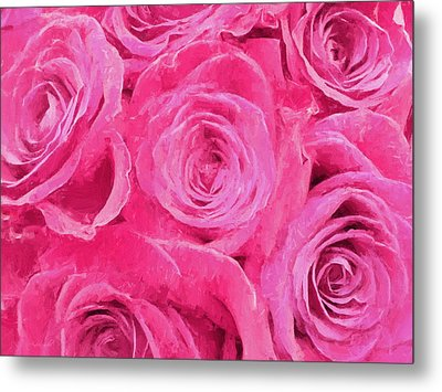Valentine Bouquet Of Pink Roses Metal Print by Andrea Kollo