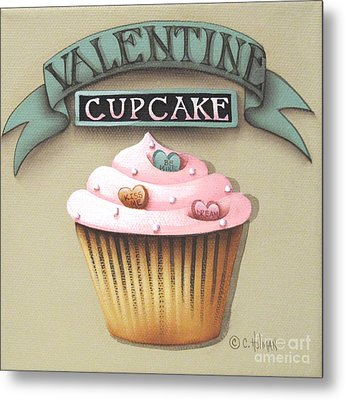 Valentine Cupcake Small Metal Print by Catherine Holman