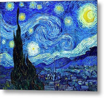 Van Gogh Starry Night Metal Print by Vincent Van Gogh