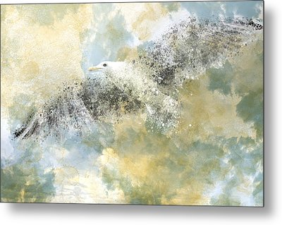 Vanishing Seagull Metal Print by Melanie Viola